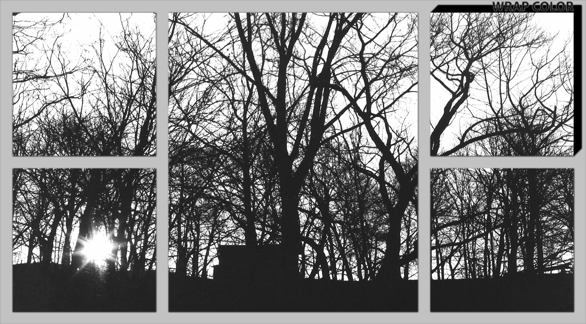 Black & White Sunrise Canvas Split Image